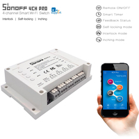 New ITEAD Sonoff 4CH Pro 4 Gang Inching Self Locking Interlock WiFi RF Smart Switch For