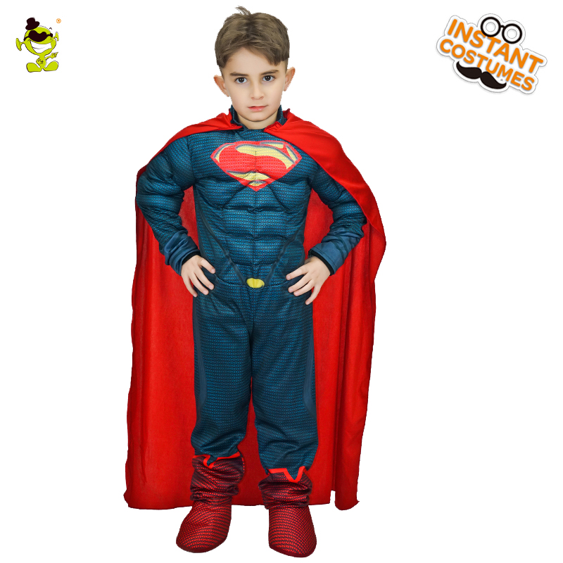 Halloween  Muscle Children Super Hero Costumes Cosplay  Superhero Outfits With Cape Boys Role Play Muscle Clothes