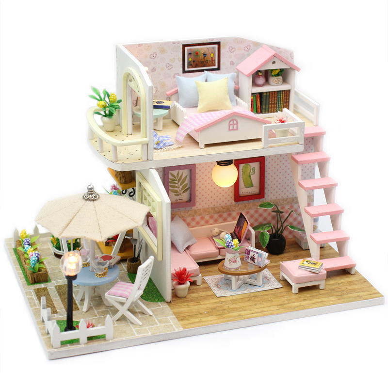 DIY DollHouse Miniature With Furnitures LED Light Creative Handmade Doll House Wooden Model Assembled Toys Pink Loft M033 #E