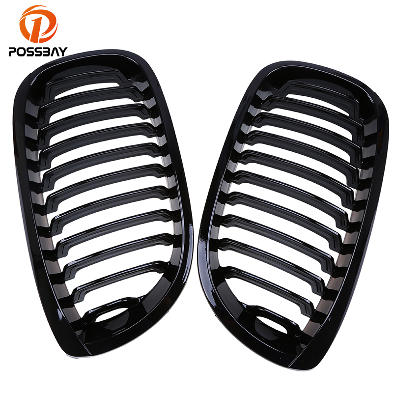 POSSBAY Car Racing Grills Gloss Front Kidney Grille for BMW 3 Series E46 Coupe 320Ci 325Ci