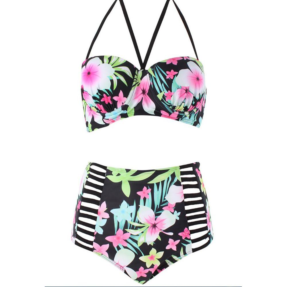 2-Piece <font><b>Floral</b></font> <font><b>Swimwear</b></font> Swimsuit <font><b>High</b></font> <font><b>Waist</b></font> <font><b>Sexy</b></font> <font><b>Bikini</b></font> <font><b>Set</b></font> Large Size Swimsuit Beach <font><b>Bikini</b></font> Women <font><b>2018</b></font> image