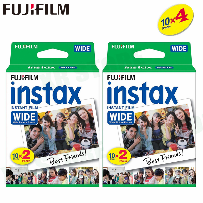 40 Films Fujifilm Instax Wide Instant White Edge For Fuji Camera 100 200 210 300 500AF