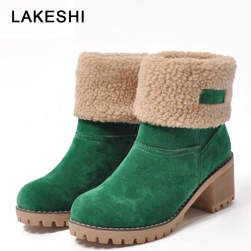 LAKESHI Brand Women Boots Female Winter Shoes Woman Fur Warm Snow Boots Square High Heels Ankle Boots Women Black Boots Size43 2018 women snow white boots woman winter boots women fashion ankle boots warm fur women s shoes brand shoes zyw 996 2