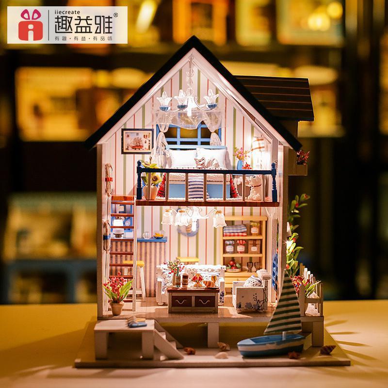 Дома Украшения DIY Кукольный дом большой деревянный дом куклы 3D миниатюрный комплект модель кукольная мебель светодиодный свет 13018