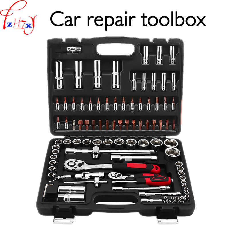Car repair tools kit 94pcs spanner set car repair kit group suitable for machine repair, spark plug and tire repair 1pc free ship 44pcs set chrome vanadium steel amphibious socket wrench set spanner car ship machine repair service tools kit