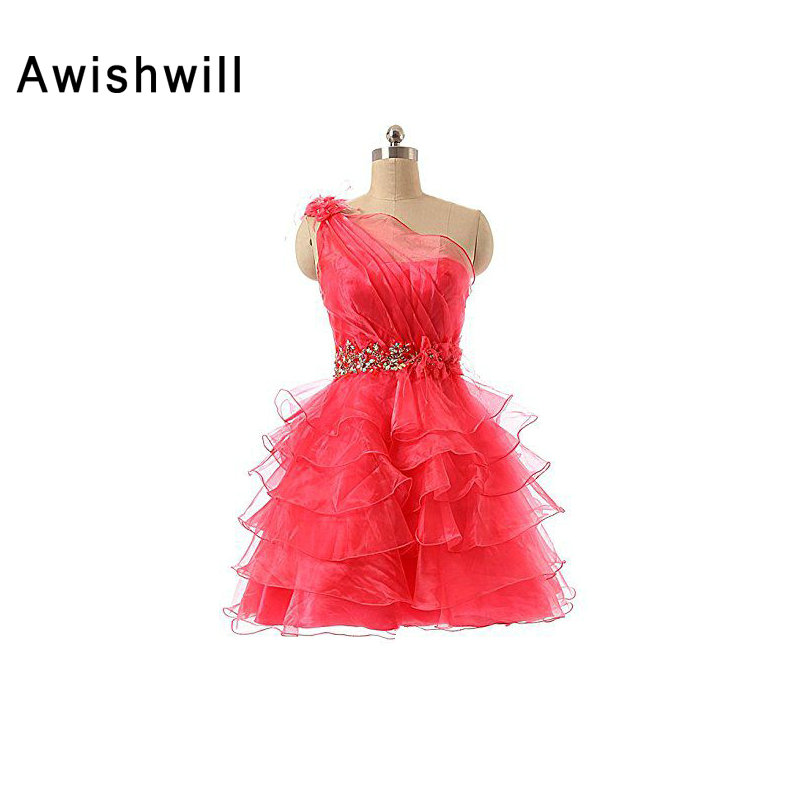 Real Picture Fashion One Shoulder Beadings Tired Organza Homecoming Dress Short Prom Gowns Cheap Cocktail Dress 2019