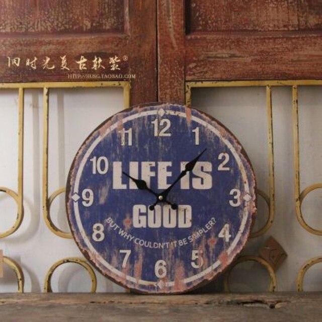 Vintage Wood Roman Numerals Wall Clock LIFE IS GOOD Bar Pub Home Cafe Wallpaper