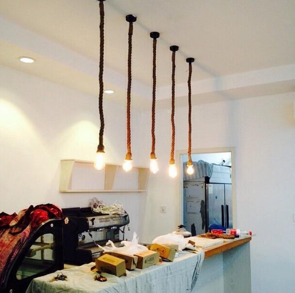 25 Living Room Lighting Ideas For Right Illumination: D25 Retro Pendant Light Antique Hemp Vintage Rope Pendant