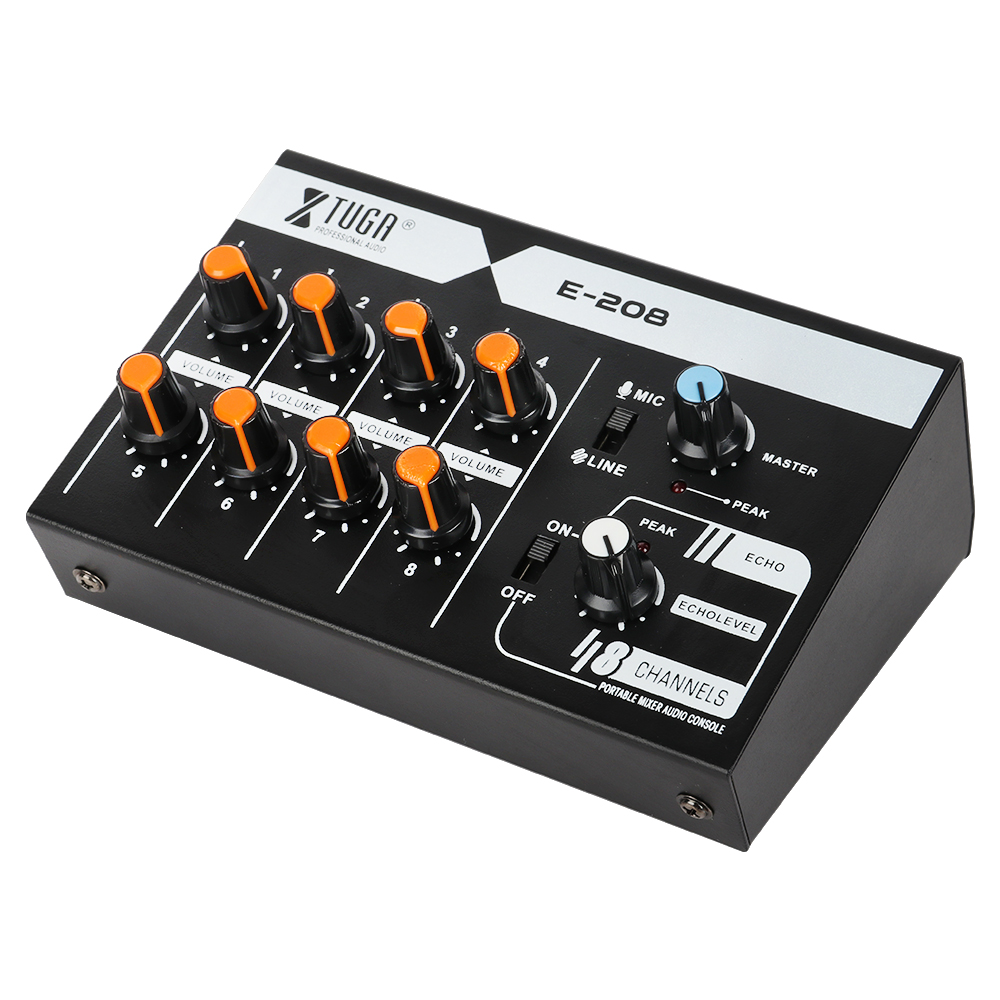 XTUGA E 208 Ultra compact Low Noise 8 Channel Mono Mixer for Guitar keyboard mic bass