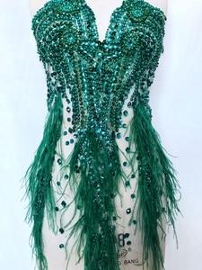 Image 5 - ハンドメイドラインストーンアップリケにメッシュディープグリーントリムパッチ 66*34 センチメートルウェディングドレスのためのアクセサリー 7 色