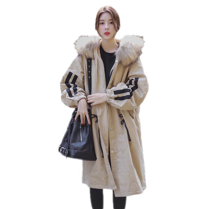 Mode Vestes Épais Fausse D hiver Nouvelles Chaud En De Lâche B82 2018 Femme  Femmes kaki Col Fourrure ... 0f6230e38e0