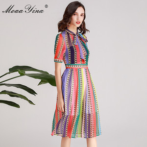 Image 5 - MoaaYina Fashion Designer Runway dress Spring Summer Women Dress Bow collar Short sleeve Colorful Stripe Dresses