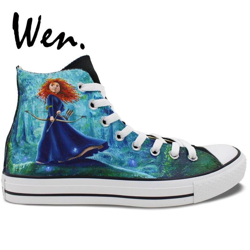Angemessen Wen Männer Frauen High Top Sneakers Design Nach Brave Prinzessin Wald Hintergrund Hand Bemalte Leinwand Schuhe Einzigartige Präsentiert HüBsch Und Bunt