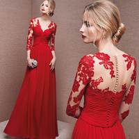 Выдалбливают Кружева шифон 2018 Новый Для женщин элегантные длинные платья вечерние выпускных вечеров для дата выпуска церемонии Гала Вечер