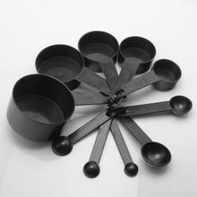 10 шт Черные Пластиковые мерные чашки мерная ложка инструменты для приготовления пищи мини весы ложки для выпечки Кофе Чай Кухонные гаджеты
