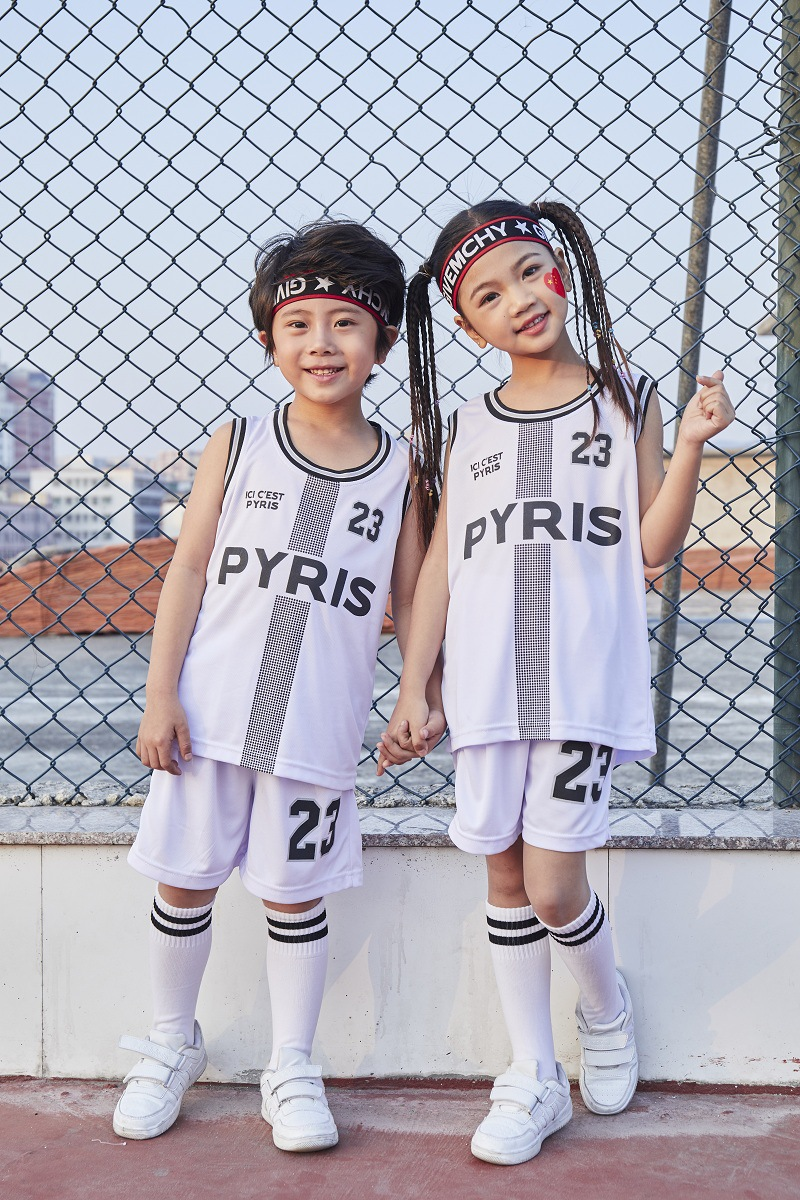 Kid PYRIS 23# Basketball Set, Girls Basketball Uniform , Breathable Paris Child Sport Jerseys, Basket Ball Team Training Clothes