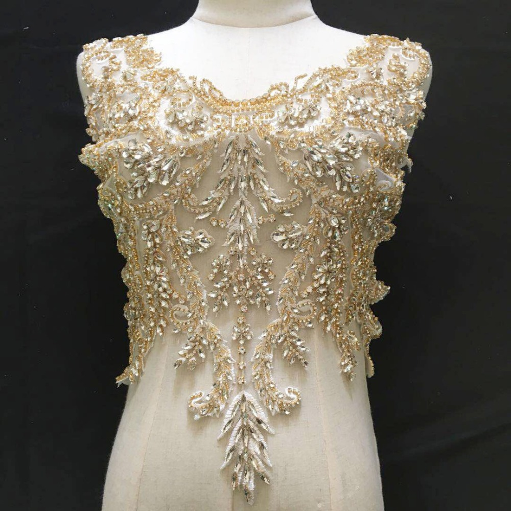 Motivated 1 Pc Deluxe 3d Luxury Bridal Gown Bodice Rhinestone Applique In Rose Gold Silver Gold Wedding Gown Couture Dress Motif Lace