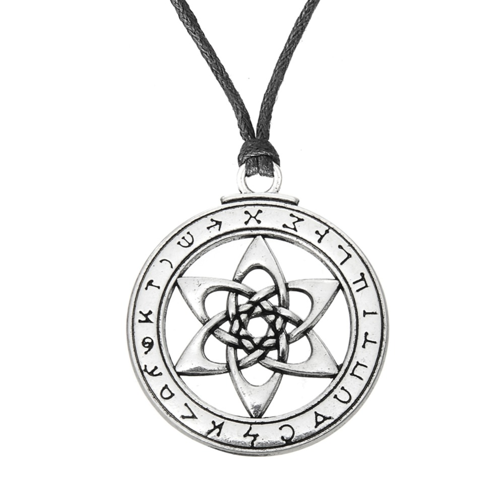 The Key Of Solomon Pendant Necklace Vintage Mysterious Sign Amulet Jewelry Round Charm Necklace Gift For Nostalgic Friends Lustrous Pendant Necklaces