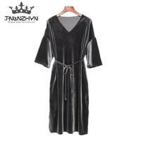 TNLNZHYN 2017 Spring Summer Velvet Dress Maxi Evening Party Dress Solid Short Sleeve Casual Loose Ladies