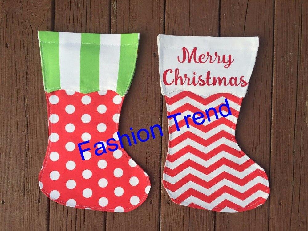 Beautiful 50pcs/lot Monogram Wholesale Good Quality Christmas Stocking Garden Flag  Canvas With EVA 2 Styles