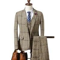 Loldeal Mens Wedding Suit 2018 Autumn Slim Fit Man Business Suit Fashion Printed Groomsmen Suits Tuxedo Jacket Gray plaid