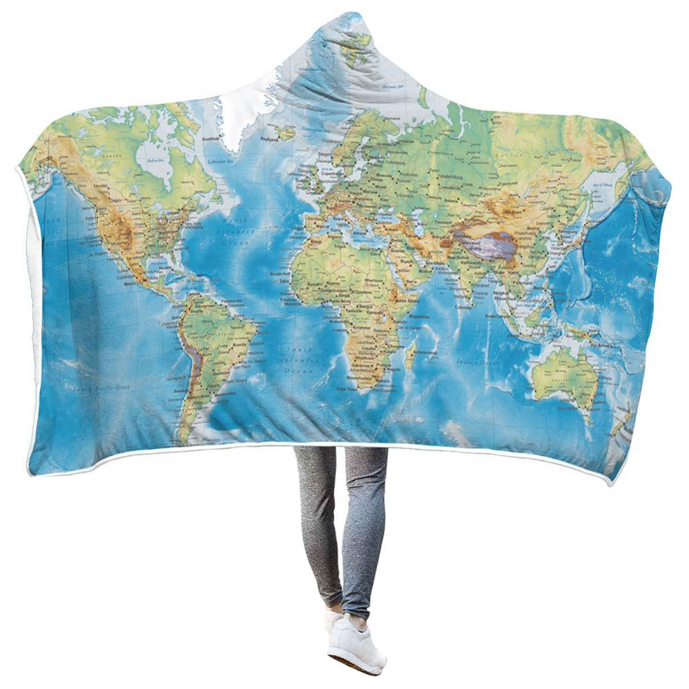 Pullover Blanket Oversized 3d-Printed Map Hoodie Cloak Sherpa World-Map