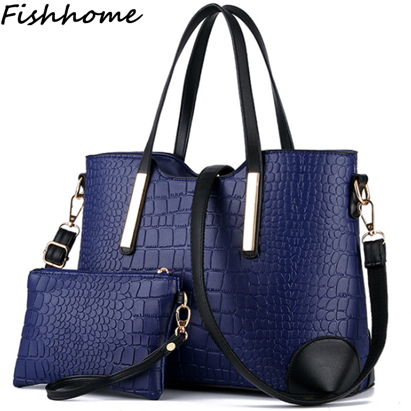 Crocodile Big Women Composite Bag 2017 New Fashion Woman Handbag Lady Famous Designer Brand Leather Shoulder Messenger Bag DXF66