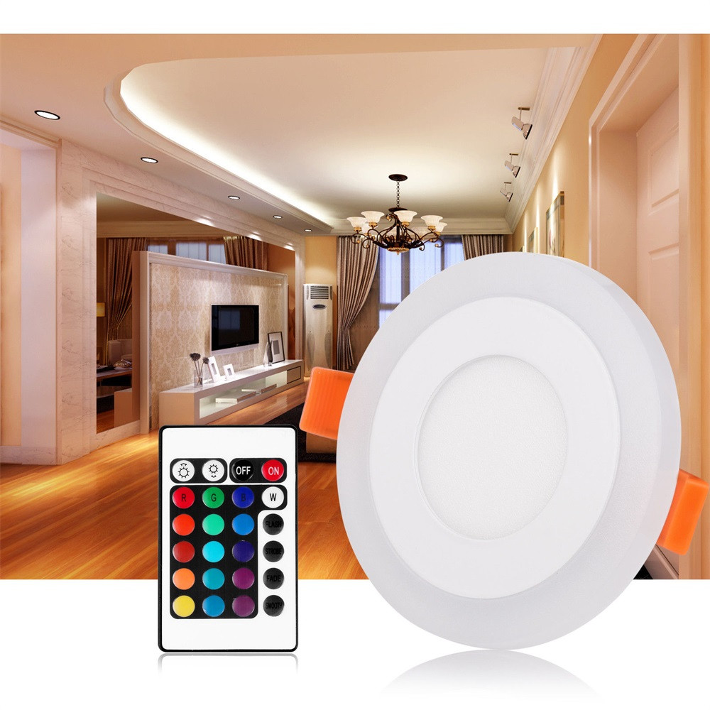 High Quality LED Round Recessed Ceiling Flat Panel Down Light Ultra Slim Cool White + RGB Dimmable available Party Dec #0209