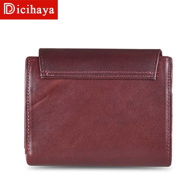 DICIHAYA Vintage femmes portefeuilles petit Portefeuille femmes court en cuir véritable femmes portefeuilles sacs à main Portefeuille femme sac à main pochette
