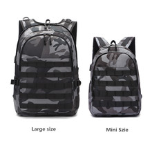 PUBG Backpack Men Game Mini Bag Schoolbag Mochila Pubg Battlefield Infantry Camouflage Travel bag USB charging backpack Cosplay