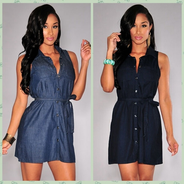 9f033323a21 2015 Summer Casual Tunic Sleeveless Button Down Collar Black/Blue Denim  Belted Dresses Ladies Party Mini Shirt Dress Vestidos