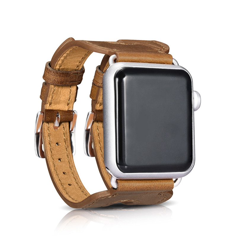 Luxury Genuine Leather Double Metal Buckle For Apple Watch Band 38mm 42mm Bracelet Link Wrist Strap For iWatch Watch Accessories 6 colors luxury genuine leather watchband for apple watch sport iwatch 38mm 42mm watch wrist strap bracelect replacement