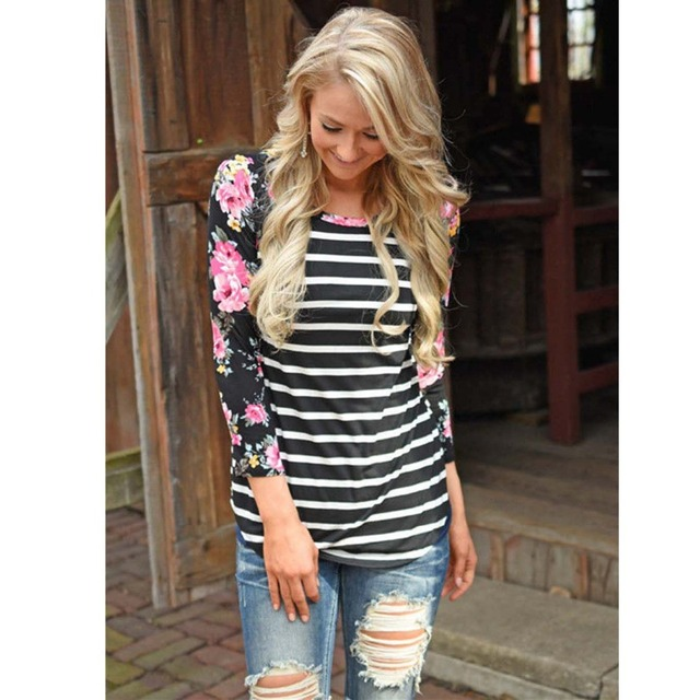 Striped T-shirt Long Sleeve Tops for Women 4