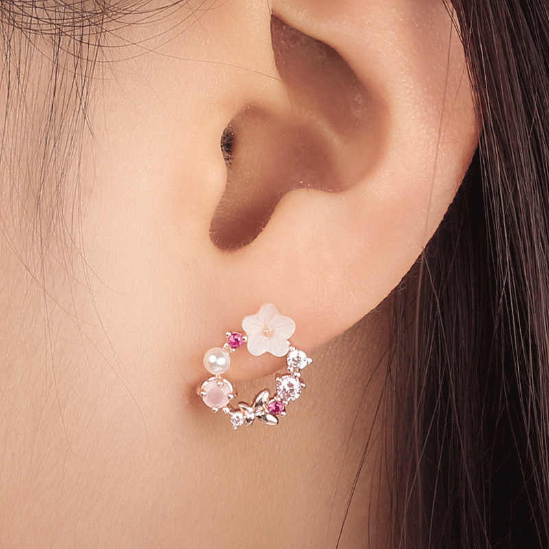 1Pair Fashion Sweet Bowtie Garland Colorful Crystal Rhinestone Earring Ear Stud For Women Jewelry