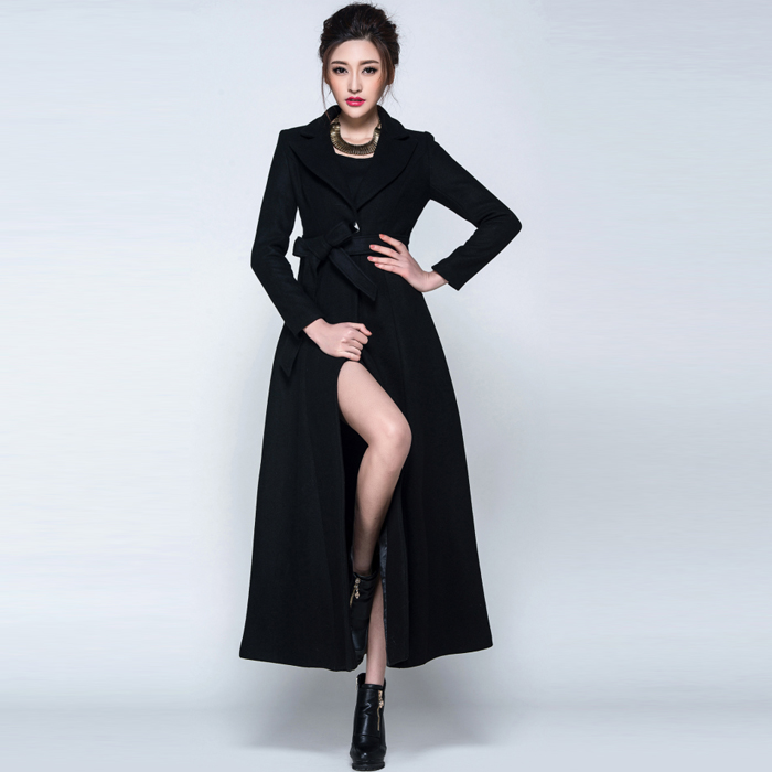 Popular Women Black Wool Coat-Buy Cheap Women Black Wool Coat lots ...