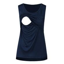 Майка для беременных женщин без рукавов однотонная Лоскутная футболка Camisetas Lactancia Verano