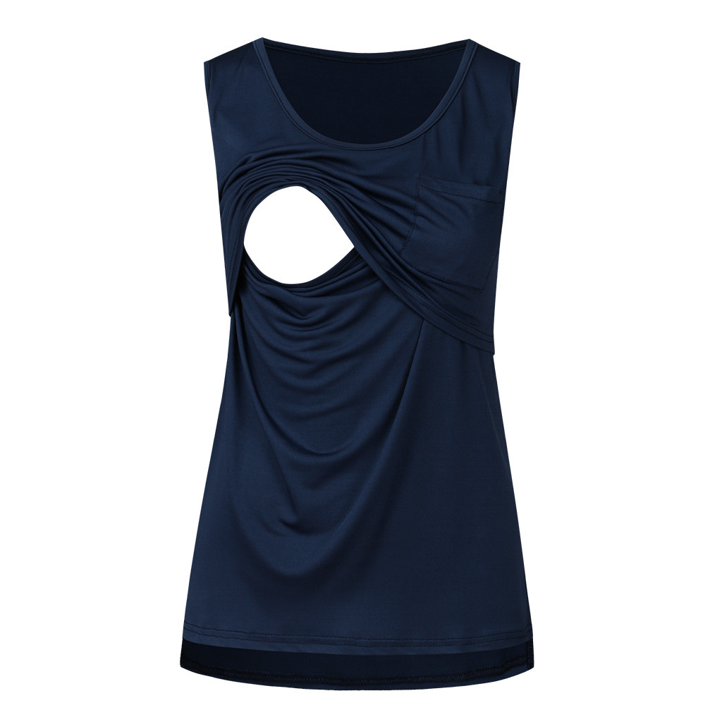 Maternity Tank Top Women Pregnant Nursing Sleeveless Solid Patchwork Tops T-shirt Camisetas Lactancia Verano Nursing Tanks(China)