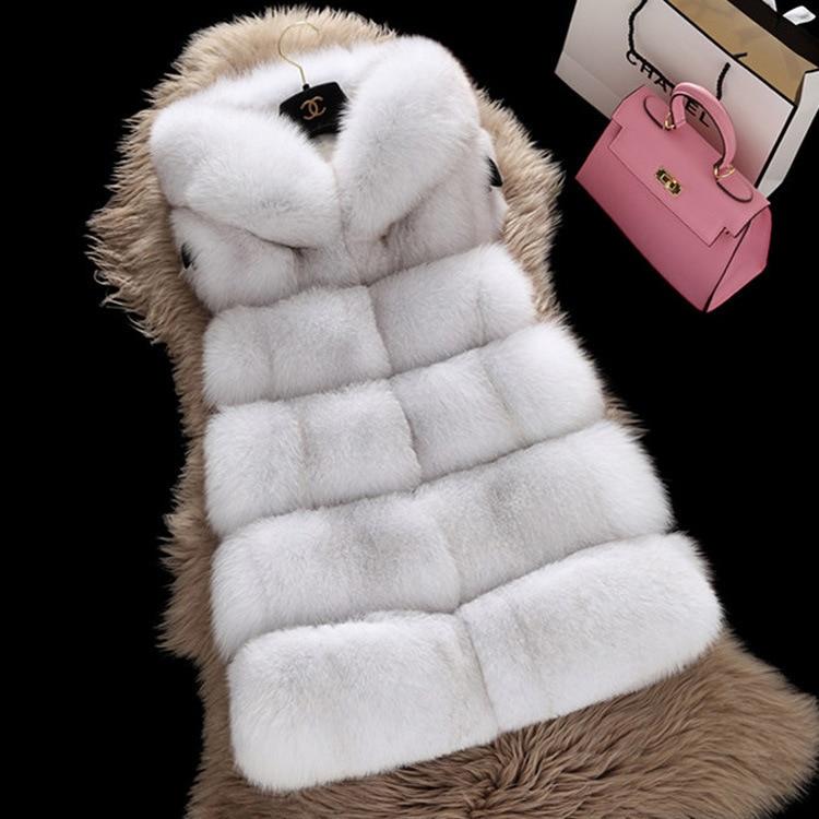 S-3XL grande taille Teddy manteau femmes hiver chaud gilet blanc fausse fourrure manteau Silm sans manches mince fourrure de renard gilet