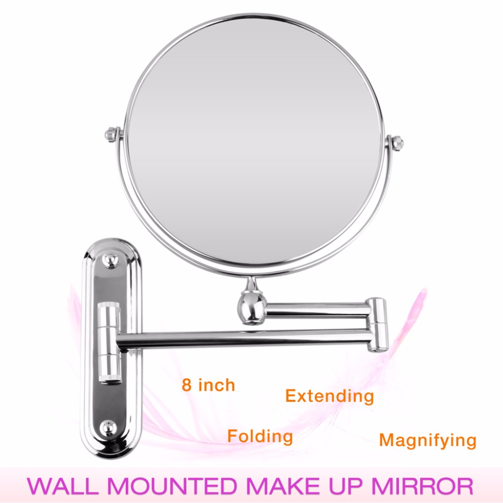 Folding bathroom mirror - 8 Inch Wall Mounted Extending Folding Round Two Side 7x 10x Magnification Bathroom Mirror Makeup