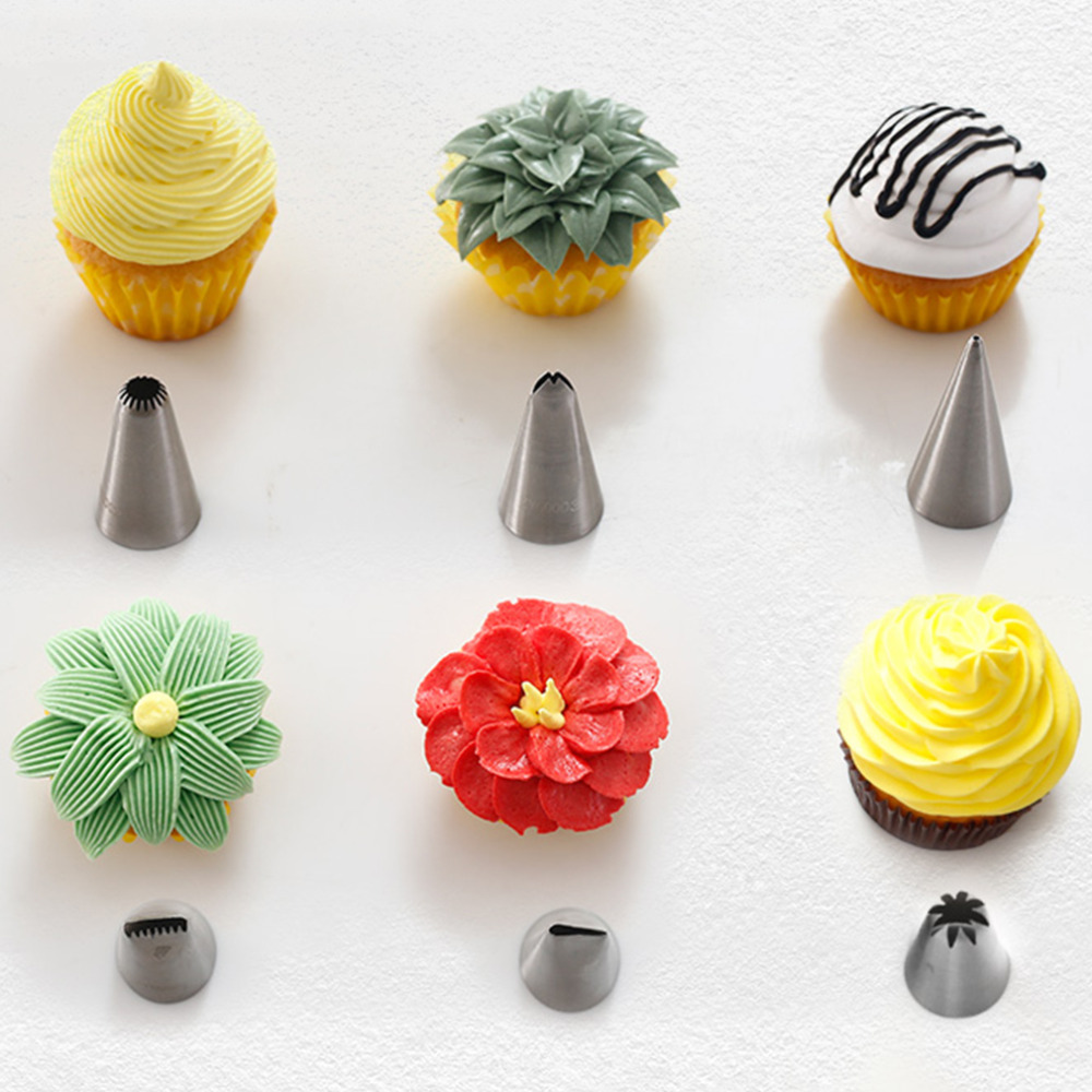 6pcs Stainless Steel Icing Piping Nozzles Pastry Tips Fondant Cake Baking Decorating Kitchen
