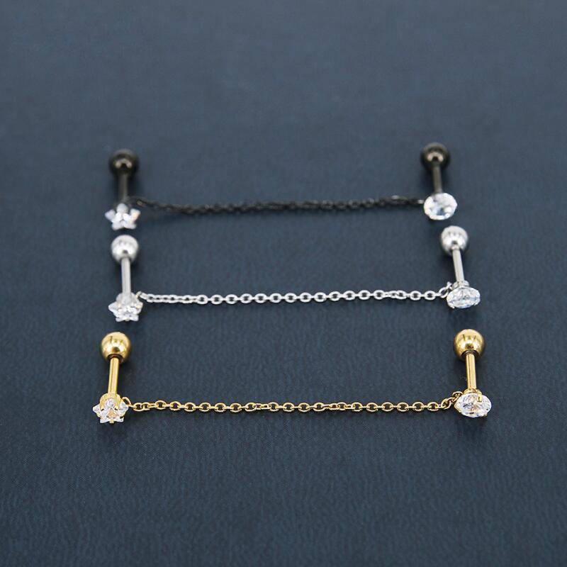 Trendy Gold Color Star Round Cubic Zircon Chain Dangle Earring Tragus Body Piercing Jewelry For Women Girl
