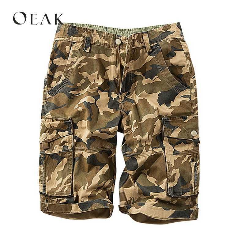 OEAK летние камуфляжные шорты с принтом карманы Прямые мужские повседневные карго шорты мужские брюки плюс размер хлопок бермуды masculina