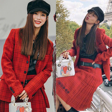 Star Similar Net Red Small Suit 2009 Spring New Red Chequered Slim Coat Women Coats and Jackets Turn-down Collar 2019 spring women s heavy industry love embroidery feelings ol commuter small suit coat women women jackets and coats