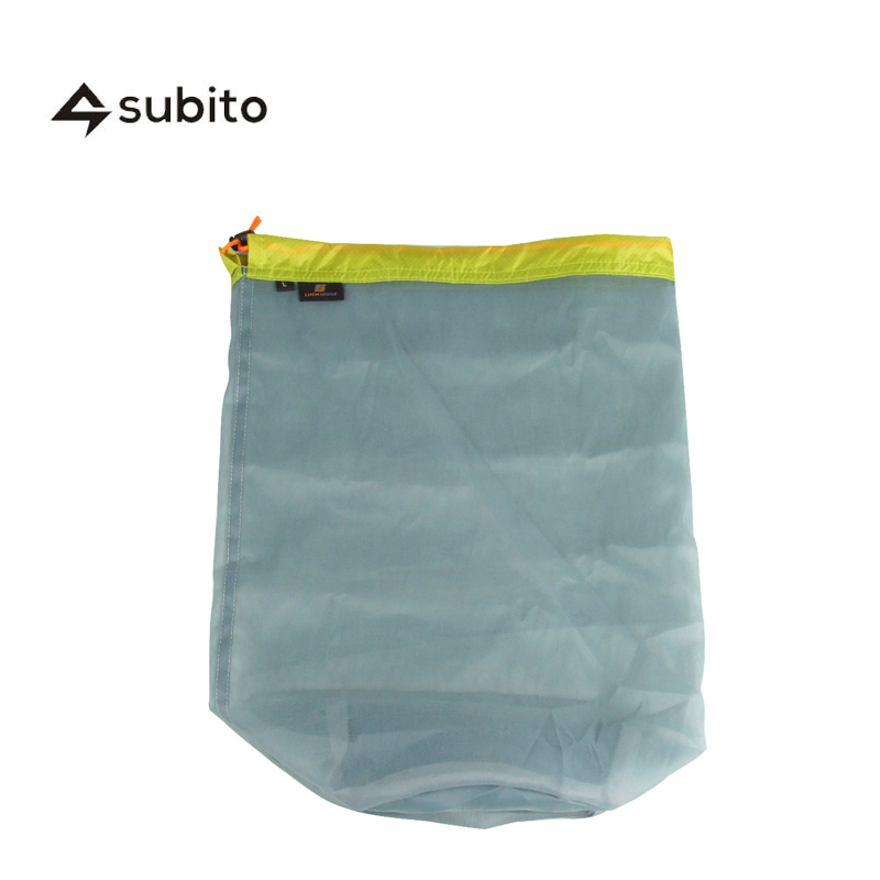 SUBITO L Size Ultralight Drawstring Mesh Stuff Sack Storage Bag for Tavelling Camping Hike Climbing Outdoor Laundry Cloth Pouch