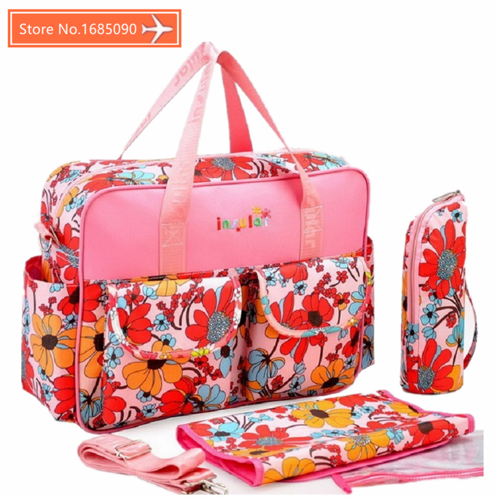 INSULAR MultiColor Baby Travel Changing Diaper Bag Fashion Mummy Maternity Nappy Bags Organizer Baby Tote Stroller Messenger Bag