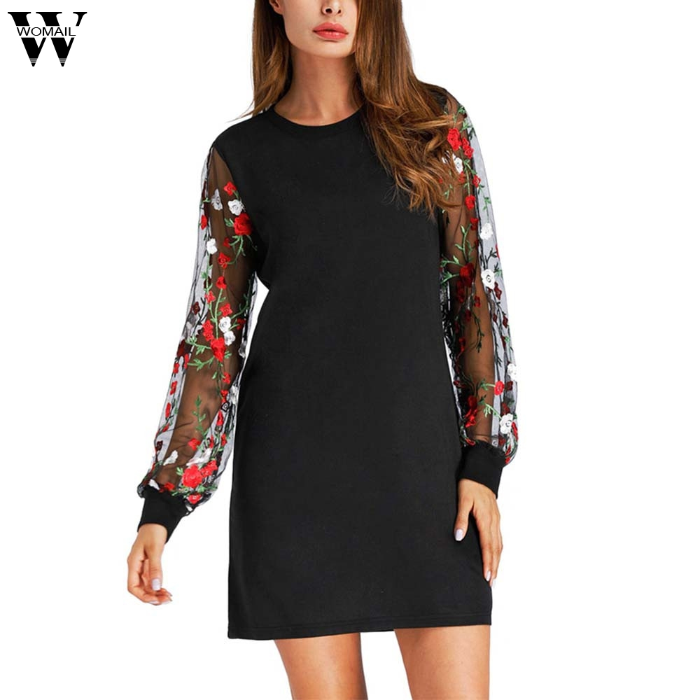WOMAIL Botanical Embroidered Mesh Sleeve Longline Pullover Elegant Black Long Sleeve Casual Fall 2017 Sweatshirts d25w30