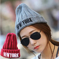 NEWYORK Korean autumn and winter warm wool hat knitted hat embroidered wild influx of people men and women of letters pointy hat