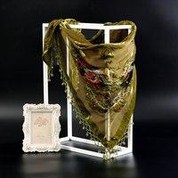 Chinese National Muffler Shawls Chal Muslim Hijab Army Green Women Rayon Scarf Shawl Handmade Beaded Pashmina Stole 150*70cm
