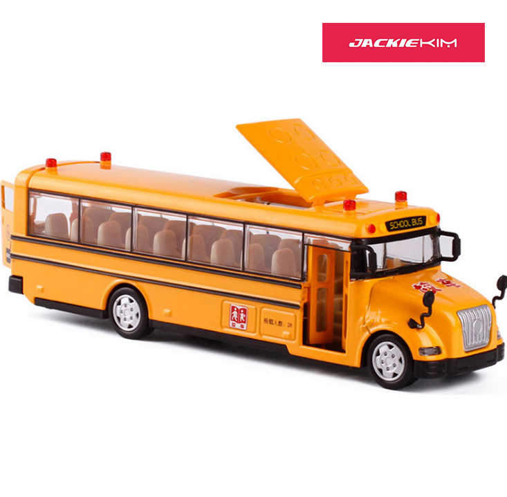 High quality 1:50 scale alloy pull back car model school bus model toy 3 open doors with sound light for kids toy free shipping