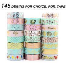 New gold foil masking Tape For Christmas Card Decorative gold Paper washi Tape 10 rolls цена и фото